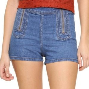 Free People Be Mine Double ZIP Denim Shorts